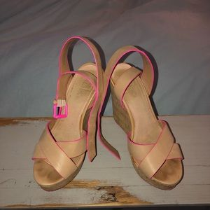 Pink and tan Aldo wedges